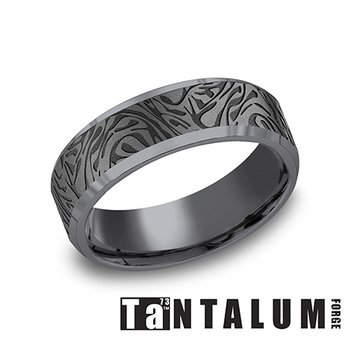 7MM Tantalum Band with Faux Mokume