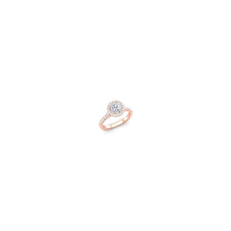 Lasker Bridal Classic Halo Ring in Rose Gold