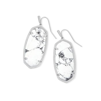 Elle Silver Drop Earrings In White Howlite