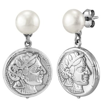 Coin Drop Pearl Earrings