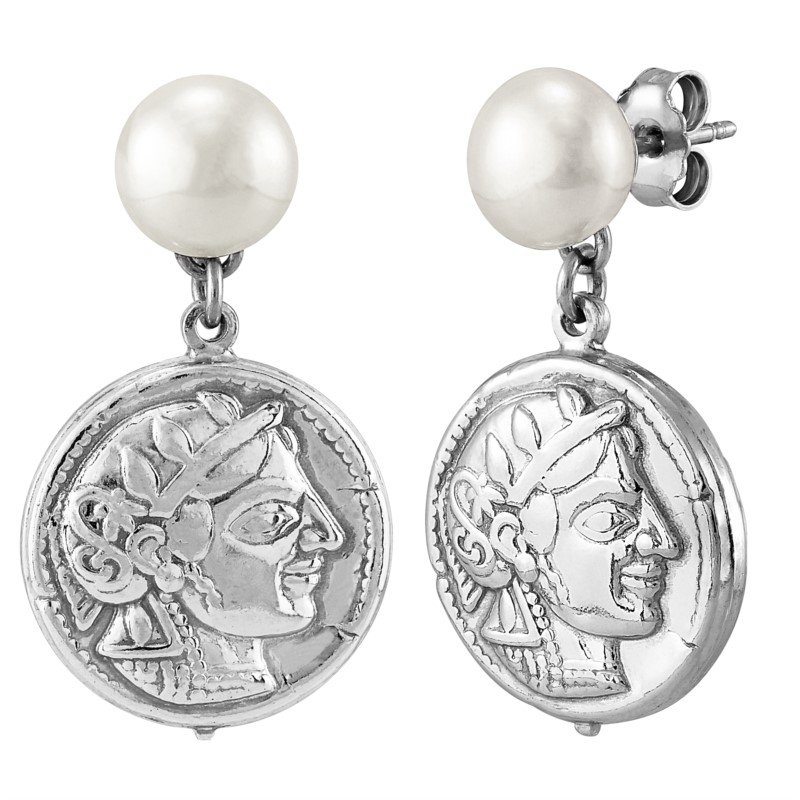 Lasker Pearl Fashion Coin Drop Pearl Earrings