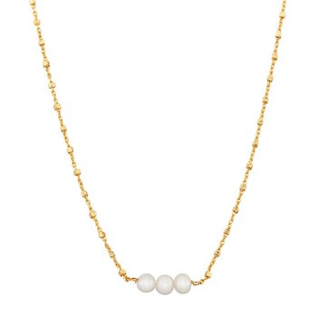 14k Yellow Gold Necklace with Three Round White Pearls