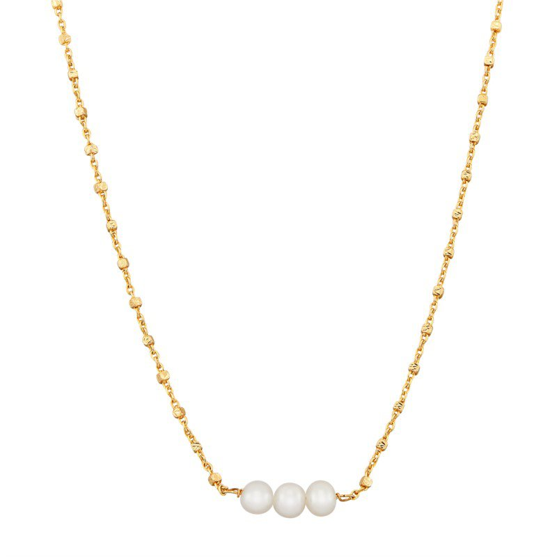 Lasker Pearl Fashion 14k Yellow Gold Necklace with Three Round White Pearls