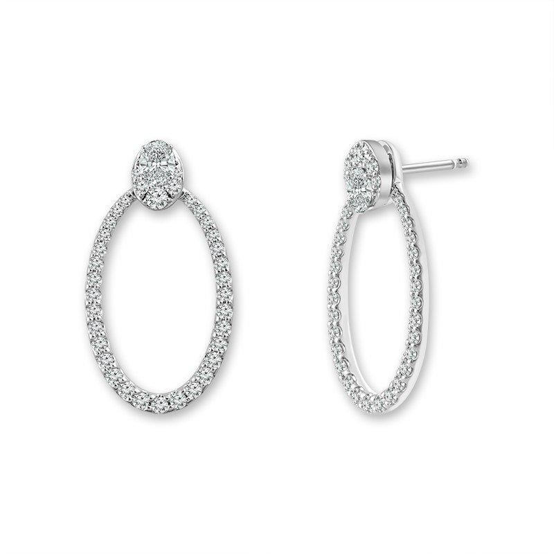 Lasker Diamond Fashion Open Oval Shaped Earring Jackets