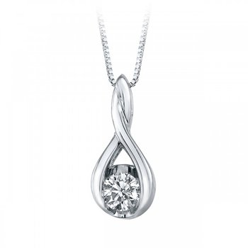 Weave Diamond Solitaire Pendant - .40ct
