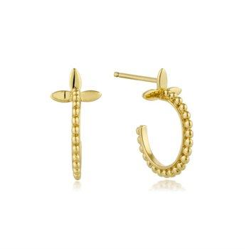 Beaded Cross Hoop Earrings