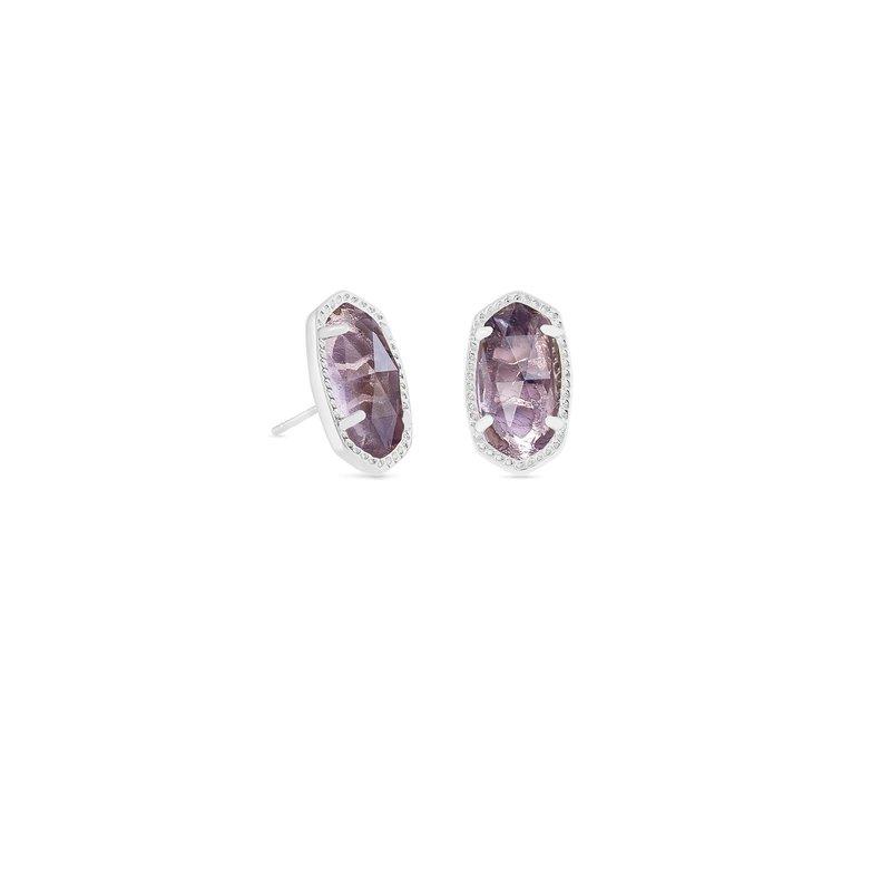 Kendra Scott Ellie Bright Silver Stud Earrings In Black Mother-Of-Pearl