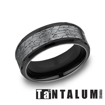 Tantalum & Titanium Fractured Rock Pattern Band