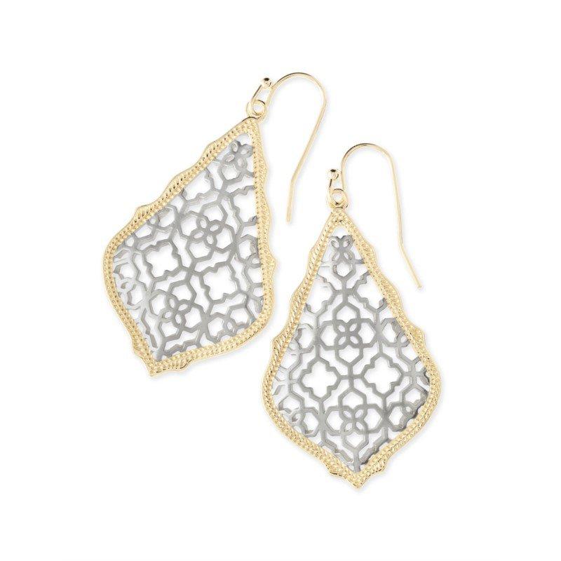 Kendra Scott Addie Gold Drop Earrings In Silver Filigree Mix