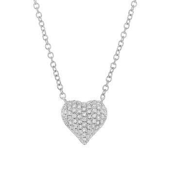 Diamond Pave Puffy Full Heart Pendant