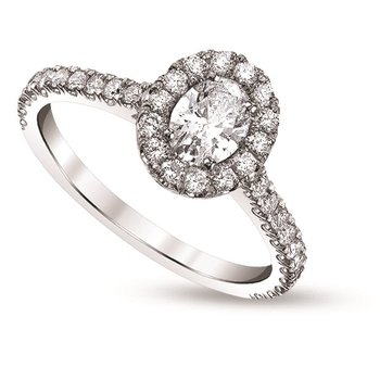 Oval Halo Diamond Ring - 3/4ctt Center Diamond