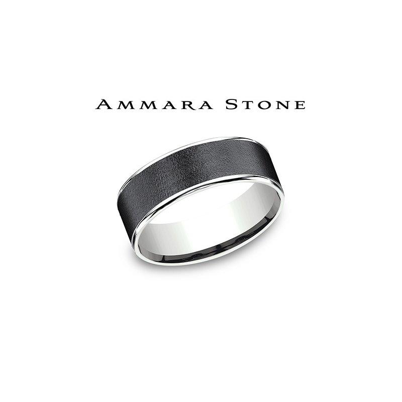 Lasker Men's Amara Stone Band - Wire Brush Finish