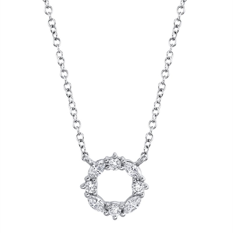 Lasker Diamond Fashion Diamond Cutout Circle Necklace