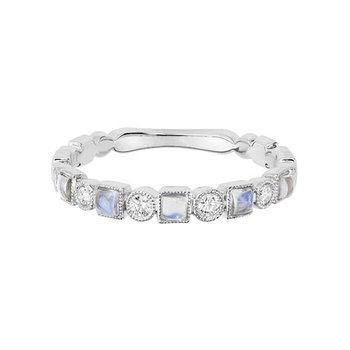 Moonstone and Diamond Stackable Band