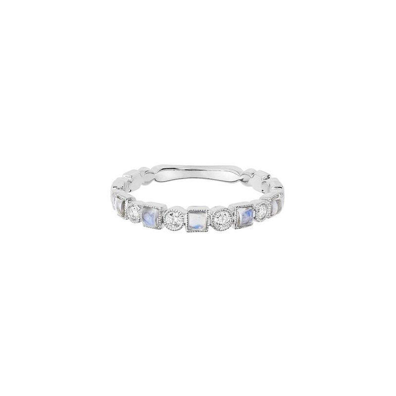 Lasker Gemstone Moonstone and Diamond Stackable Band
