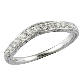 Engraved Curved Diamond Band