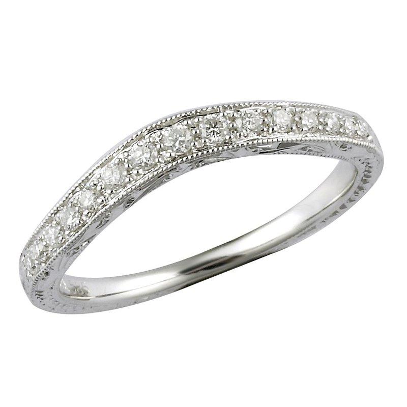 Lasker Bridal Engraved Curved Diamond Band