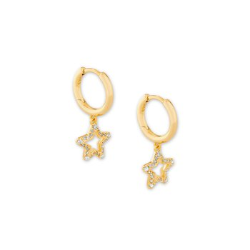 Kendra Scott Jae Star Crystal Huggie Earring In Yellow with White Crystal