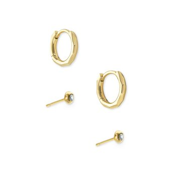 Addison Huggie & Stud Earrings Set In Gold