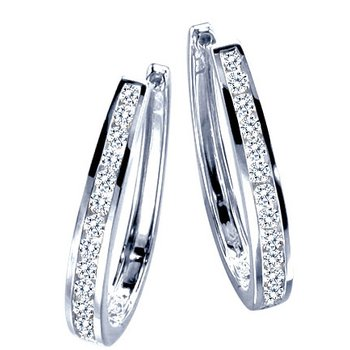 White Gold Channel Hoops - 1/3ctw