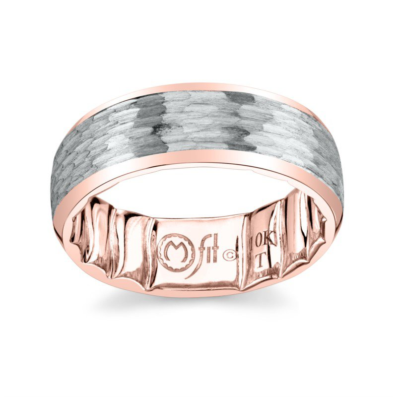 M-Fit 8mm White & Rose Gold Hammered Band