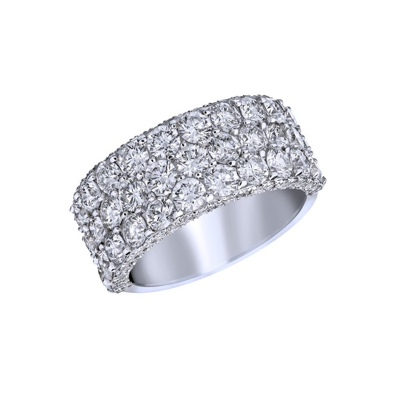 Lasker Bridal Three Row Diamond Ring