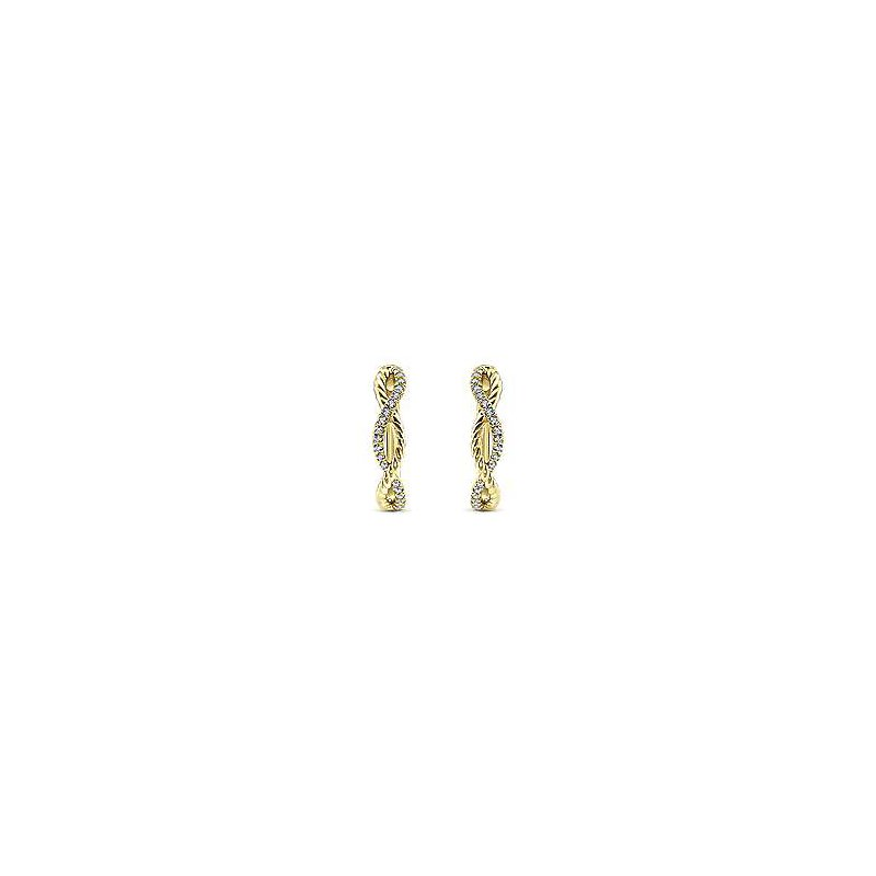 Gabriel Fashion 14K Yellow Gold 15mm Twisted Rope and Diamond Huggie Earrings