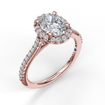 Oval Halo Engagement Ring Mounting with Diamond Pave
