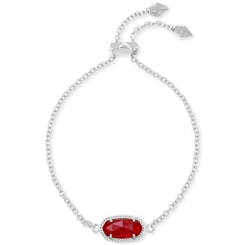 Elaine Bracelet Rhodium Bright Red Glass