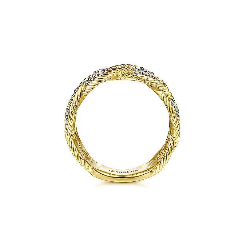Gabriel Fashion 14K Yellow Gold Twisted Braided Diamond Wide Band Ring