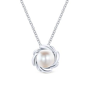 Floral 7.5mm Pearl Pendant