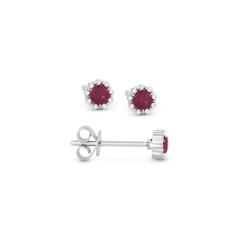 Lasker Gemstone Ruby & Diamond Stud Earrings