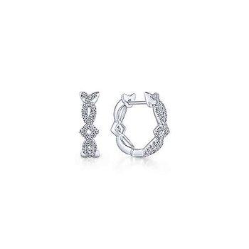 14K White Gold Twisted 10mm Diamond Huggie Earrings
