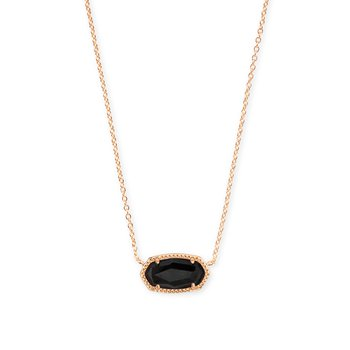 Elisa Rose Gold Pendant Necklace In Black Granite