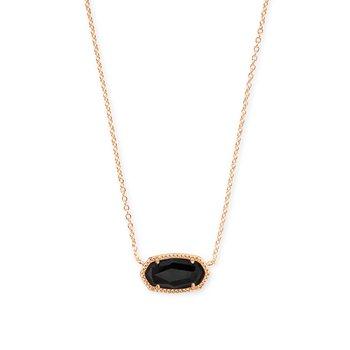 Elisa Rose Gold Pendant Necklace In Black Granite