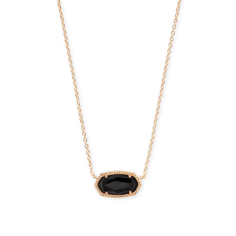 Kendra Scott Elisa Rose Gold Pendant Necklace In Black Granite