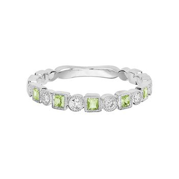 Peridot and Diamond Stackable Band