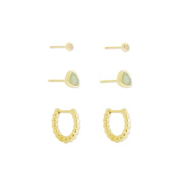 Kendra Scott Ivy Huggie Stud Earring Set 3 Matte Iridescent Mint in Yellow