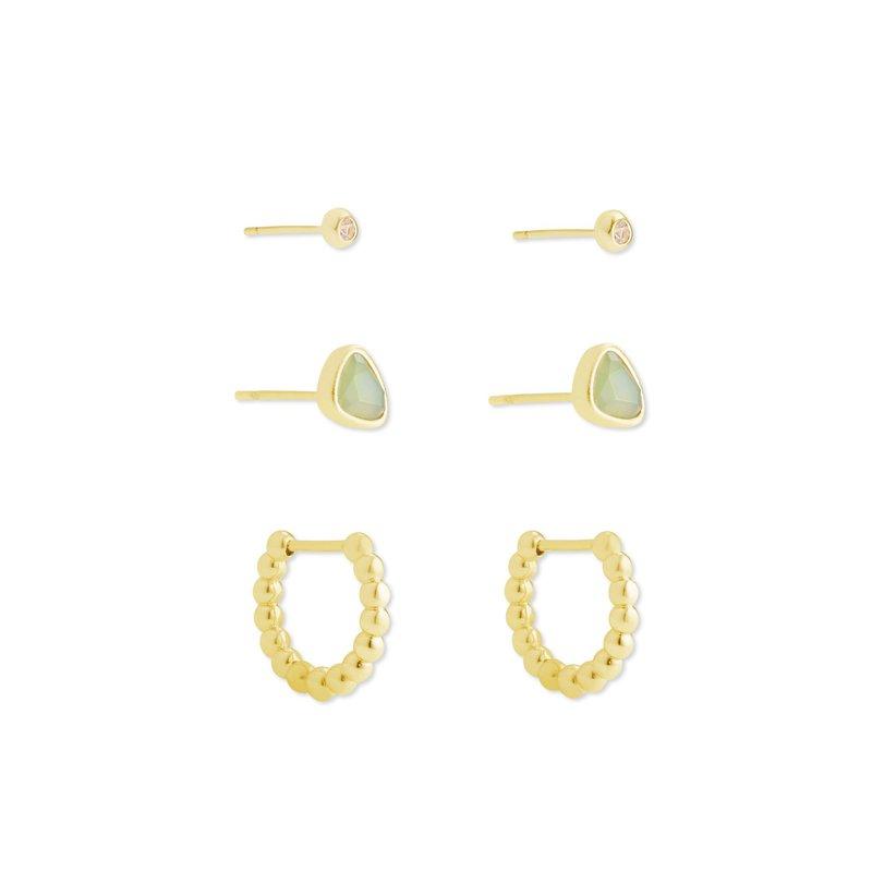 Kendra Scott Kendra Scott Ivy Huggie Stud Earring Set 3 Matte Iridescent Mint in Yellow