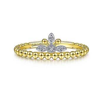 14K Yellow-White Gold Beaded Diamond Crown Ring