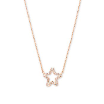 Kendra Scott Jae Star Crystal Pendant Necklace Rose with White Crystal
