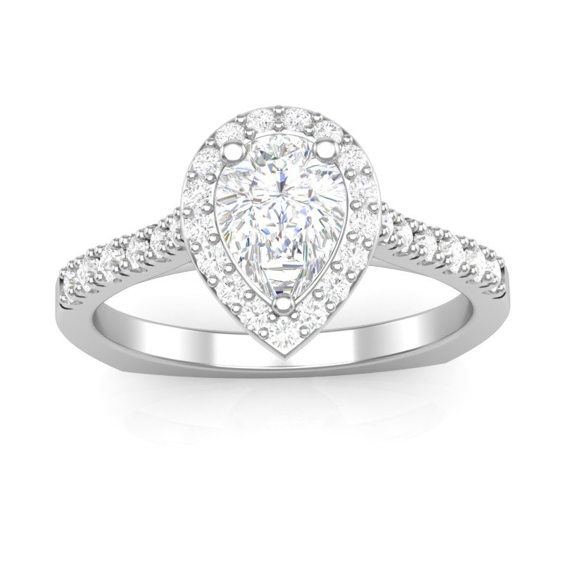 Lasker Bridal Classic Pear-Shape Halo Ring