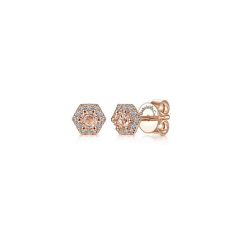 Gabriel Fashion 14K Rose Gold Hexagonal Morganite and Diamond Stud Earrings