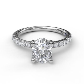 Classic Prong Engagement Ring Mounting for an Oval Center
