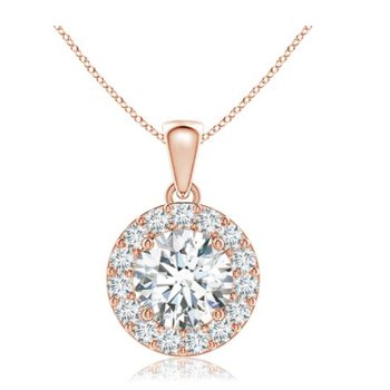 Spectacular Center Of My World Halo Pendant In 18Kt Rose Gold