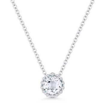 White Topaz & Diamond Halo Pendant