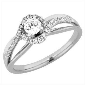 Swirled Halo Engagement Ring