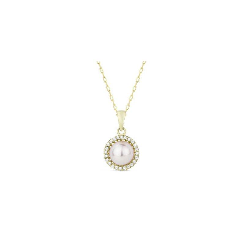 Lasker Pearl Fashion Diamond Halo Cultured Pearl Pendant
