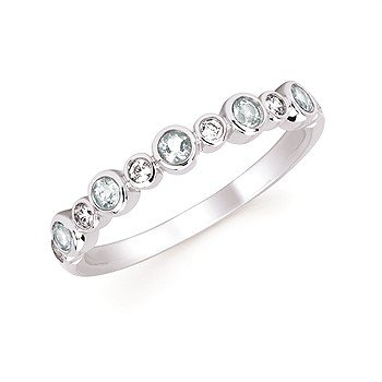 March Stackable Birthstone and Diamond Band