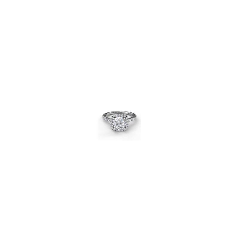 Fana Cushion Halo Ring For Round Diamond